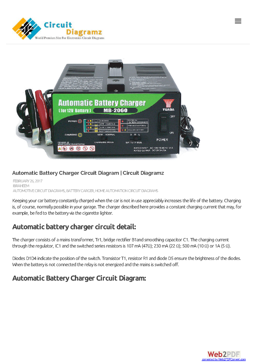 Portable Nicd Batteries Charger Circuit Schematic