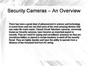 Security Cameras – An Overview