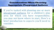 Considerations When Choosing Appropriate Playground Surfaces