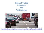 Penalties for drunk driving in New Jersey (NJ) and Pennsylvania (PA)