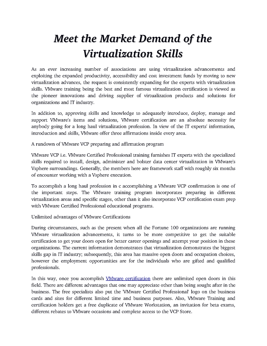 Meet the market demand of the virtualization skills authorstream related presentations xflitez Images