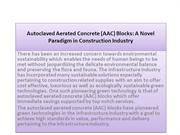Autoclaved Aerated Concrete (AAC) Blocks A Novel Paradigm in Construct