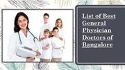 List of Best General Physician Doctors of Bengaluru -Curecity
