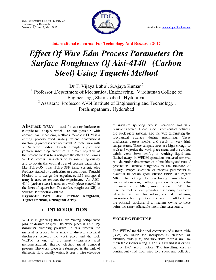 Effect of Wire Edm Parameters on Surface Roughness of Aisi-4140