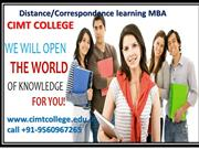 Distance/Correspondence learning MBA – CIMT COLLEGE
