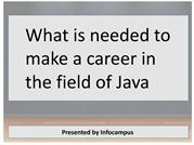 What is needed to make a career in the field of Java
