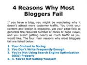 4 Reasons Why Most Bloggers Fail