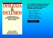 PDF FREE DOWNLOAD Dyslexia and Inclusion Assessment and Support in Hig