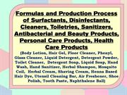 Formulas and Production Process of Surfactants, Disinfectants, Cleaner