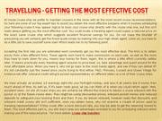 Travelling - Getting the most effective Cost