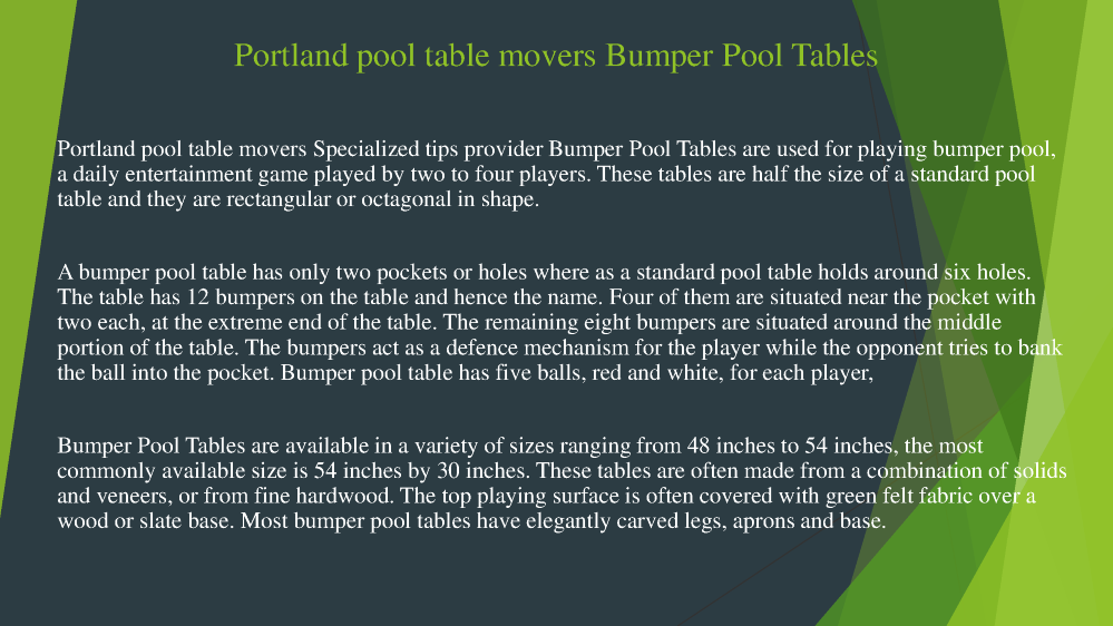 Portland Pool Table Movers Bumper Pool Tables AuthorSTREAM - Portland pool table movers