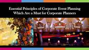 Principles of Corporate Event Planning