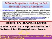 MBA in Bangalore  Looking for Full Time MBA Course Admission