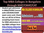 Top MBA Colleges in Bangalore through MAT CMAT CAT
