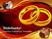 PAIR OF GOLDEN RINGS WEDDING YOUTH POWERPOINT TEMPLATE