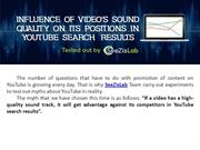 Influence of video's sound quality on its positions in YouTube search