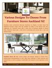Various Designs To Choose From Furniture Stores Auckland NZ