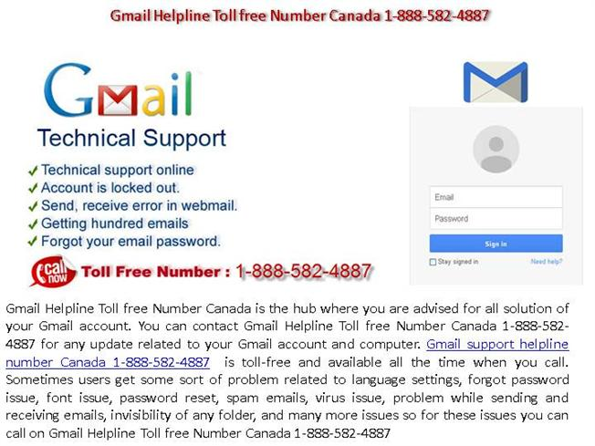 Gmail Helpline Toll Free Number Canada 1-888-582-4887