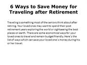 6 Ways to Save Money for Traveling after Retirement