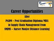 NMIMS Post graduation diploma in supply chain management career opport