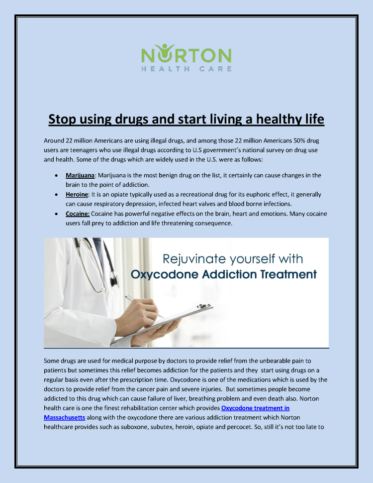 Stop Using Drugs And Start Living a Healthy Life |authorSTREAM