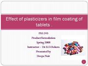 Plasticizers in film coating of tablets