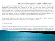 Mountain Biking, Some Factors To Remember