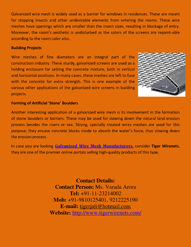Galvanized Wire Mesh Manufacturers,Suppliers,Exporters-Delhi,India