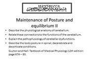 Maintenance of Posture and equilibrium II