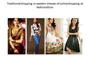 Traditional shopping  vs western dresses of online shopping PPT