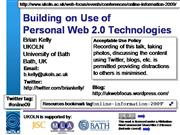 Building on Use of Personal Web 2.0 ...