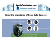 Know the Importance of Solar Gate Openers