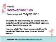 Recover lost files  from  recycle bin