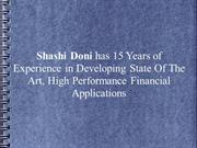 Shashi Doni-15 Yrs Exp Develop State Of The Art, Financial Application