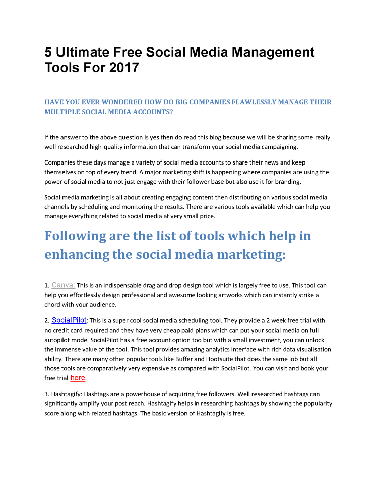 5 ultimate free social media management tools for 2017 |authorstream