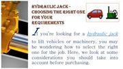 Hydraulic Jack - Choosing The Right One For Your Requirements