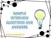 SAMPLE INTERVIEW QUESTIONS AND ANSWERS