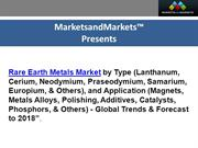Rare Earth Metals Market Reported to reach 192,000 Tons by 2018