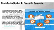 QuickBooks Unable To Reconcile Accounts