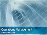 Operations Management introduction wk1