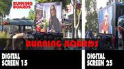The moving texts and graphics on outdoor LED screen create a high-reso
