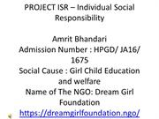 Proejct ISR l Amrit Bhandari l Girl Child Education