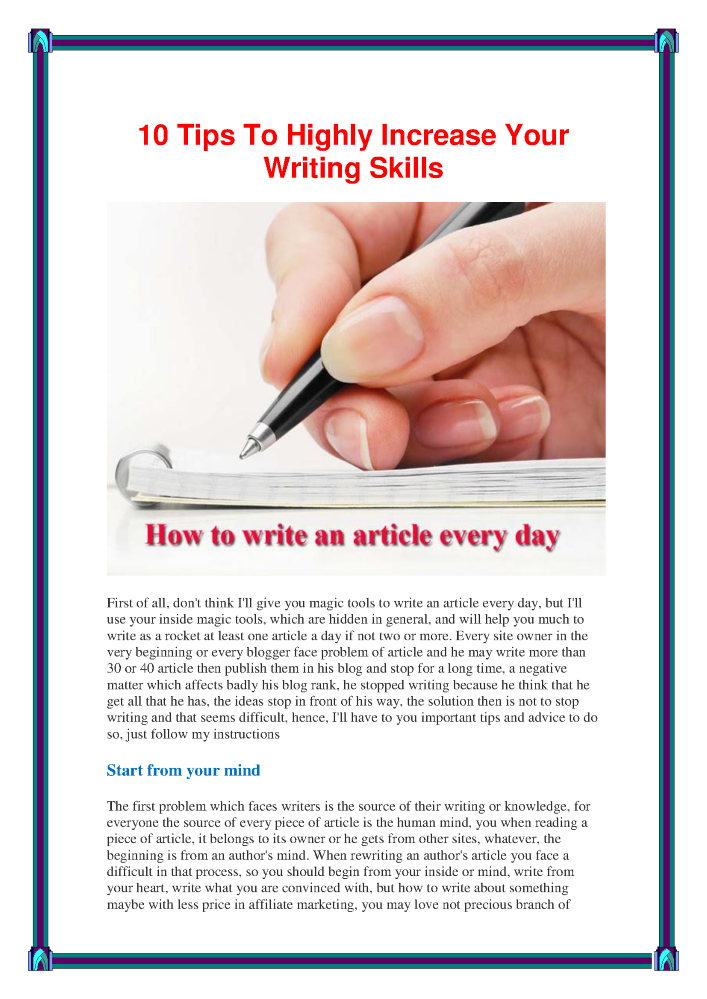 how to increase your writing skills in 10 steps authorstream