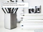 The Power of Buzzwords. What Good Words to Use in Resume?