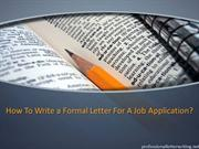 How to Write a Formal Letter for a Job Application