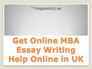 Get Online MBA Essay Writing Help Online in UK