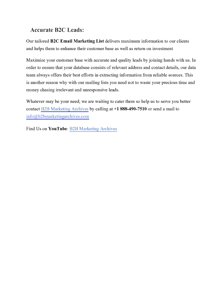B2C Email Lists | Opt-In Email Lists | B2B Marketing