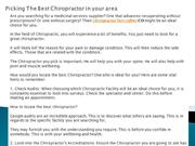 Picking The Best Chiropractor in your area