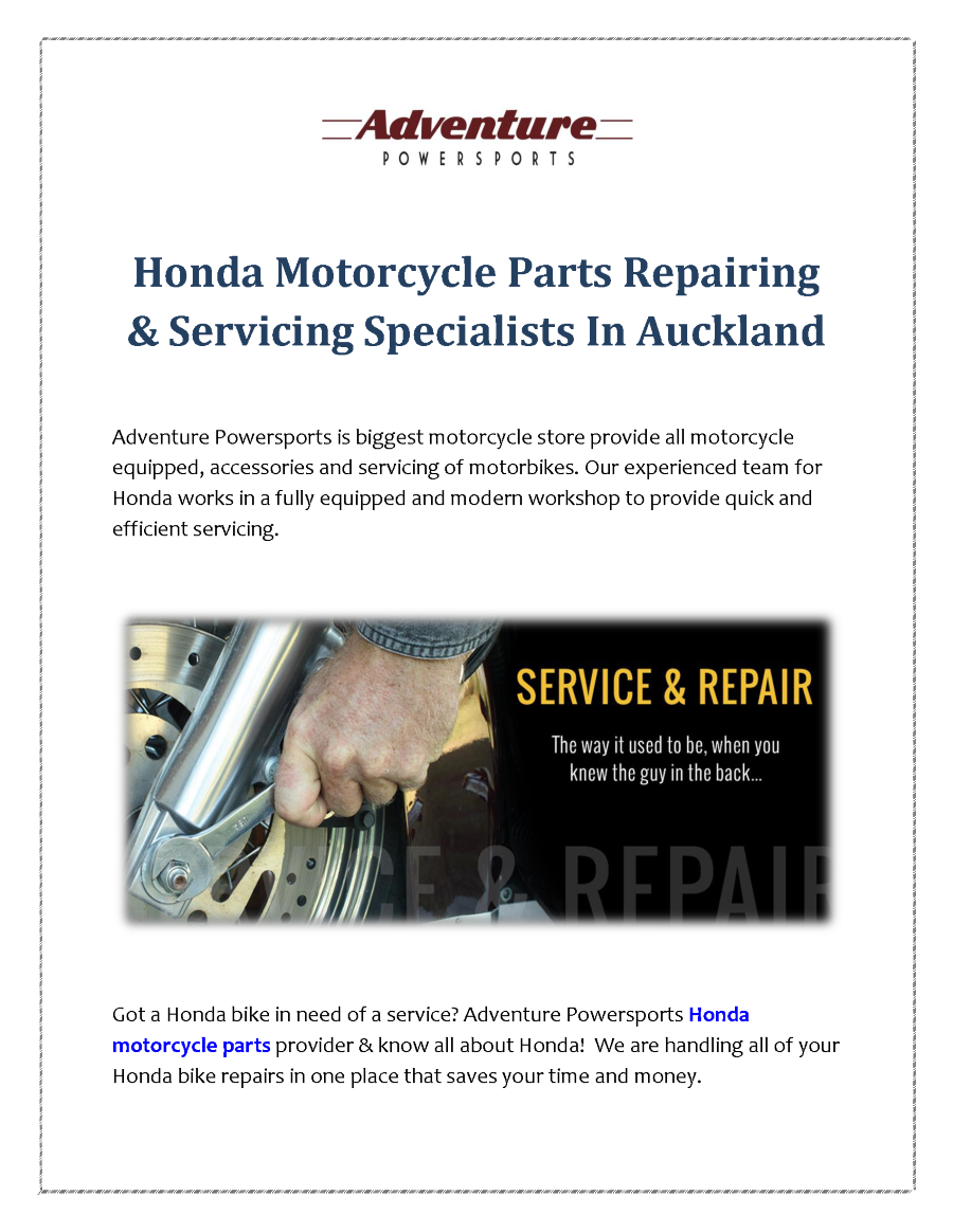 Honda Motorcycle Parts Repairing Servicing Specialists In Auckla Repair Information Related Presentations