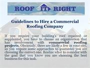 Guidelines to Hire a Commercial Roofing Company